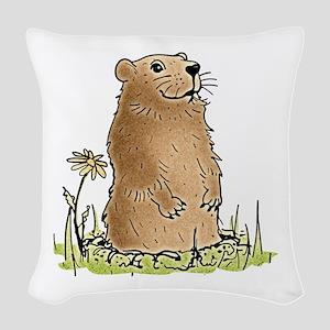 Cute Groundhog Woven Throw Pillow