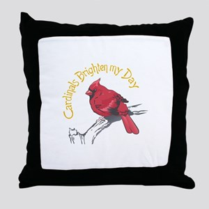 CARDINALS BRIGHTEN MY DAY Throw Pillow