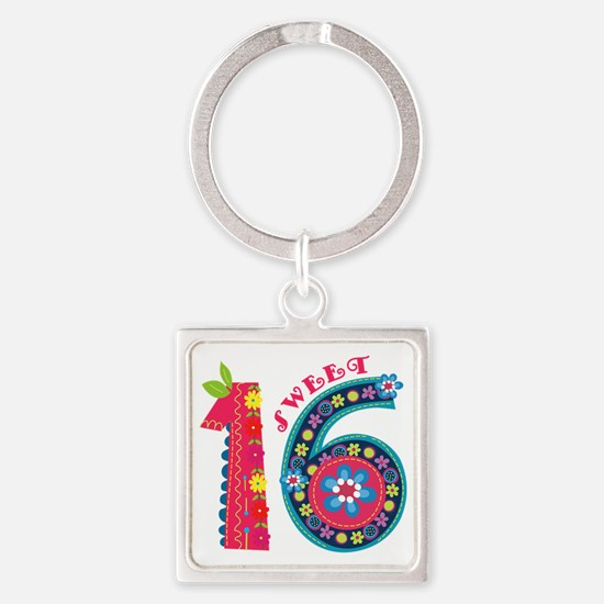 Blooming Sweet 16 Square Keychain