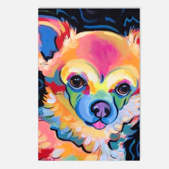 Cute Long hair chihuahua Postcards (Package of 8)