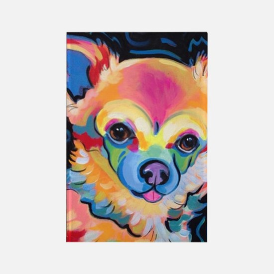 Cute Long haired chihuahua Rectangle Magnet