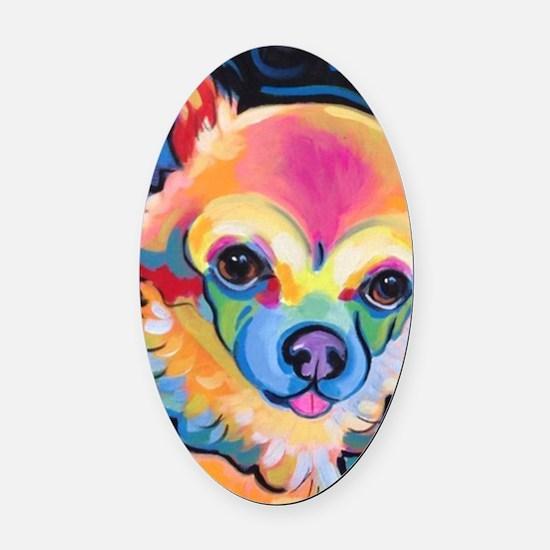 Cute Chihuahua art Oval Car Magnet