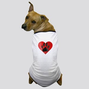 Painted Dog Paw Print In Red Heart Dog T-Shirt
