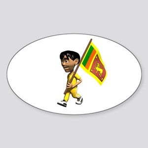 Sri Lanka Boy Oval Sticker