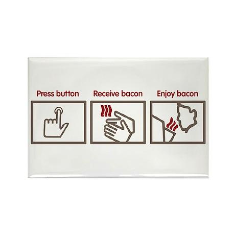 PUSH BUTTON GET BACON Rectangle Magnet