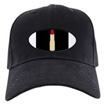 Red Lipstick on Black Baseball Hat