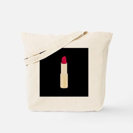 Red Lipstick on Black Tote Bag