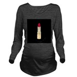 Red Lipstick on Black Long Sleeve Maternity T-Shir