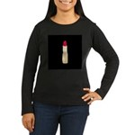 Red Lipstick on Black Long Sleeve T-Shirt