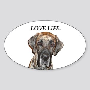 Great Dane Jamie Love Life Oval Sticker