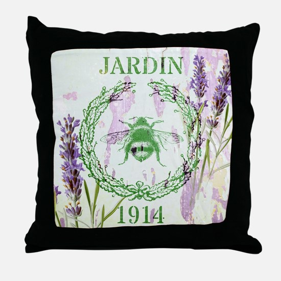 bee lavender french country Throw Pillow