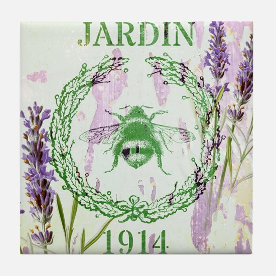 bee lavender french country Tile Coaster