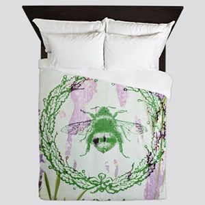 bee lavender french country Queen Duvet