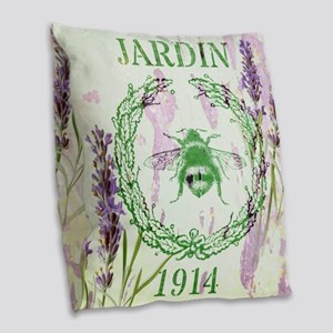 bee lavender french country Burlap Throw Pillow