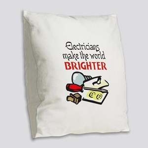 MAKE WORLD BRIGHTER Burlap Throw Pillow