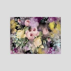 cute vintage black floral 5'x7'Area Rug