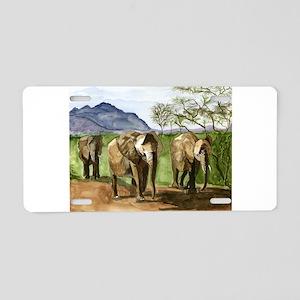 African Elephants of Kenya Aluminum License Plate