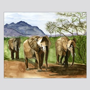 African Elephants of Kenya Poster Design
