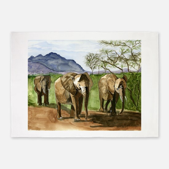 African Elephants of Kenya 5'x7'Area Rug