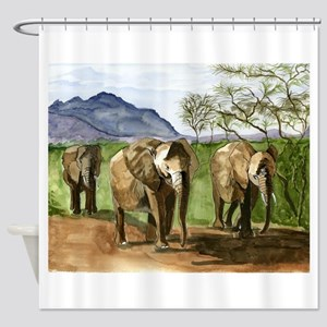 African Elephants of Kenya Shower Curtain