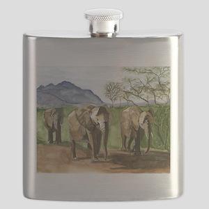 African Elephants of Kenya Flask