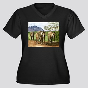 African Elephants of Kenya Plus Size T-Shirt