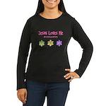 Jesus Loves Me Women's Long Sleeve Dark T-Shirt