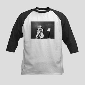 vintage musician dog puppy black w Baseball Jersey