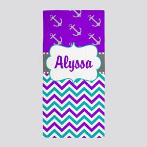 Purple Teal Anchors Personalized Beach Towel
