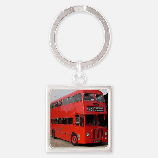 Red double decker bus Square Keychain