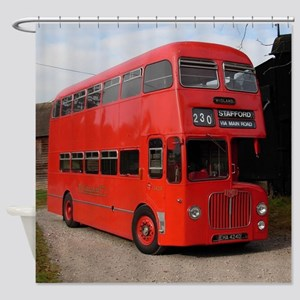 Red double decker bus Shower Curtain