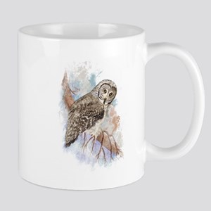 Watercolor Great Gray Owl Bird Nature Art Mugs
