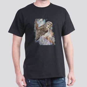 Watercolor Great Gray Owl Bird Nature Art T-Shirt