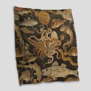 Pompeii Mosaic Burlap Throw Pillow