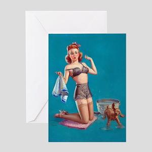 Pinup drying dog ! Greeting Card