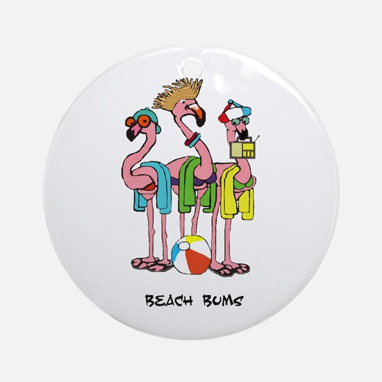 Flamingo Beach Bums Ornament (Round)