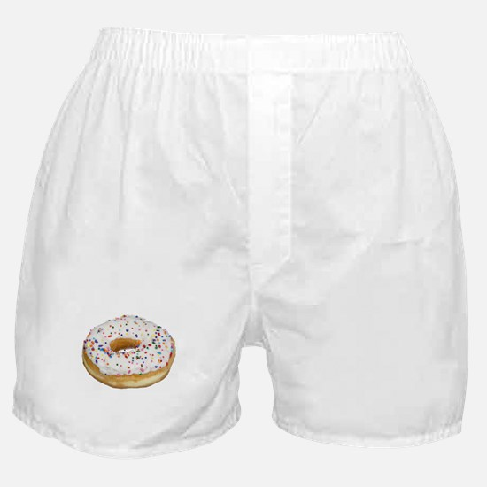 white rainbow sprinkles donut photo Boxer Shorts