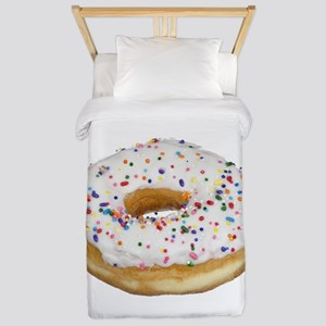 white rainbow sprinkles donut photo Twin Duvet