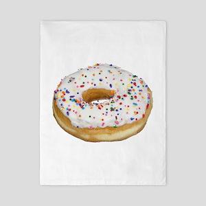 white rainbow sprinkles donut photo Twin Duvet