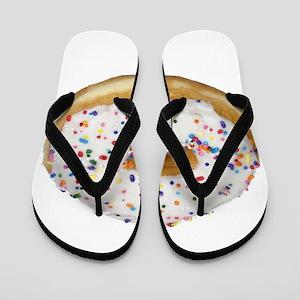 white rainbow sprinkles donut photo Flip Flops