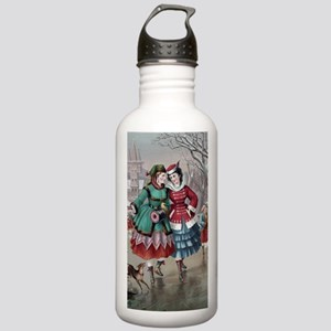 1800s ice skating wome Stainless Water Bottle 1.0L
