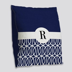 Navy Collection Burlap Throw Pillow