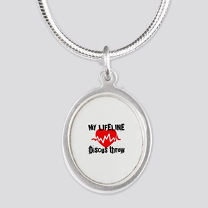 My Life Line Discus Silver Oval Necklace