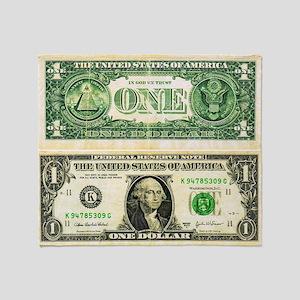 $1 dollar bill cash money green whit Throw Blanket