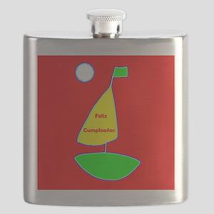 Red Happy Birthday Spanish Sailing Designer Flask