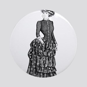 1800s vintage bustle woman Ornament (Round)