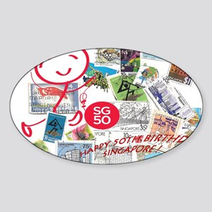 SG50-Singapore's 50th Bday! Sticker (Oval)