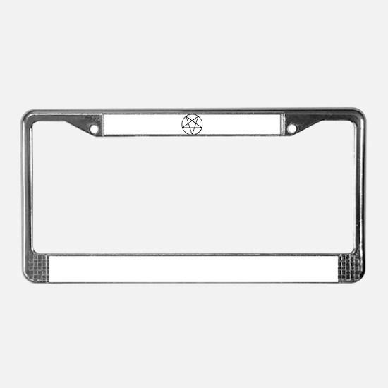 black white pentagram star License Plate Frame