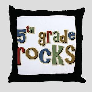 5th Grade Rocks Fifth School Throw Pillow