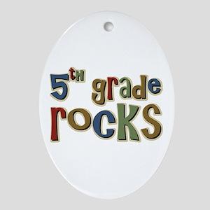 5th Grade Rocks Fifth School Oval Ornament